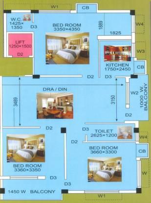 Regent Krishna Kunj (3BHK+1T (1,391 sq ft) Apartment 1391 sq ft)