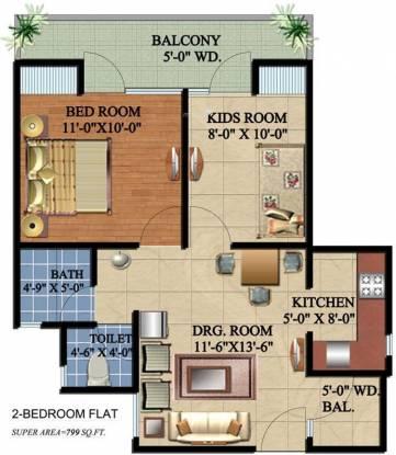Ascent Savy Ville de (2BHK+2T (799 sq ft) Apartment 799 sq ft)