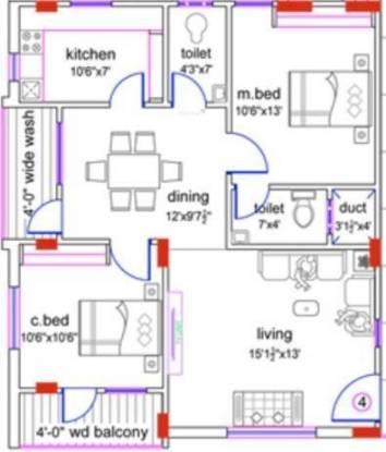 MSM Venkata Sai Builders Mythri Enclave (2BHK+2T (1,100 sq ft) Apartment 1100 sq ft)