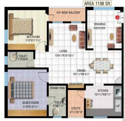 Mythri The Town (2BHK+2T (1,198 sq ft) Apartment 1198 sq ft)