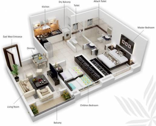 Siddhivinayak Vision Woods 1 (2BHK+2T (691 sq ft) Apartment 691 sq ft)