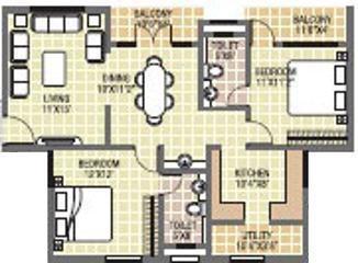 Adithi Pearl (2BHK+2T (1,190 sq ft) Apartment 1190 sq ft)