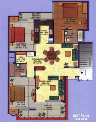 Divine Heritage Divine (3BHK+2T (1,628 sq ft) Apartment 1628 sq ft)