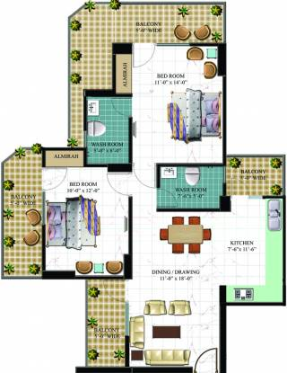 Arocon Golf Ville (2BHK+2T (1,350 sq ft) Apartment 1350 sq ft)