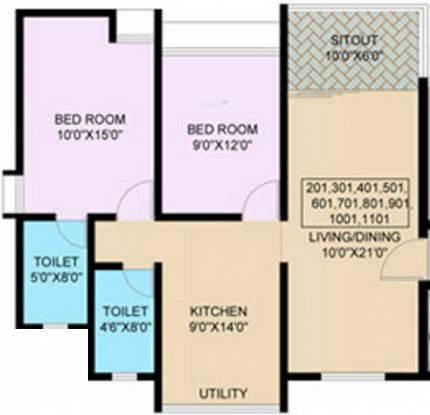 Nanded Madhuvanti (2BHK+2T (890 sq ft) Apartment 890 sq ft)