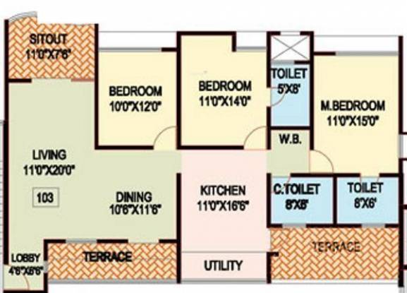 Nanded Shubh Kalyan (3BHK+3T (1,110 sq ft) Apartment 1110 sq ft)