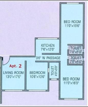 Rizvi Rocky Hills (3BHK+3T (1,480 sq ft) Apartment 1480 sq ft)
