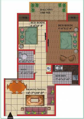 Himalaya Tanishq (2BHK+2T (753 sq ft) Apartment 753 sq ft)