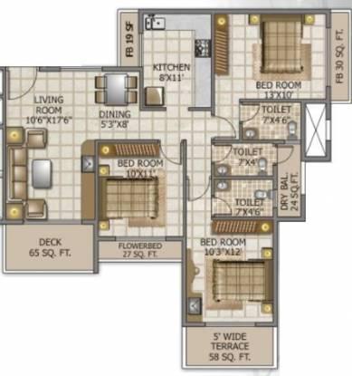 Swaraj Queensbay (3BHK+3T (1,534 sq ft) Apartment 1534 sq ft)