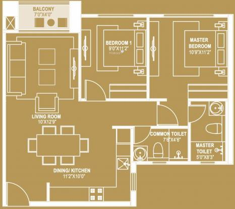 Hiranandani Queensgate (2BHK+2T (982 sq ft) Apartment 982 sq ft)