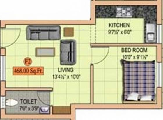 MS Sri Ambal City (1BHK+1T (468 sq ft) Apartment 468 sq ft)