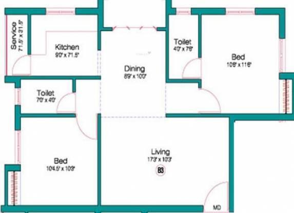 Alankar Pallikaranai (2BHK+2T (974 sq ft) Apartment 974 sq ft)