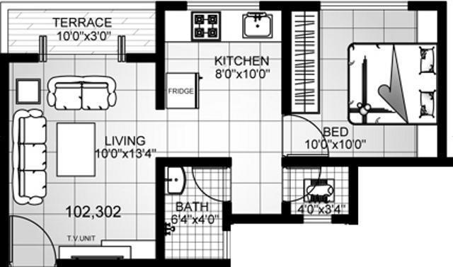 Ameya Lotus (1BHK+1T (595 sq ft) Apartment 595 sq ft)