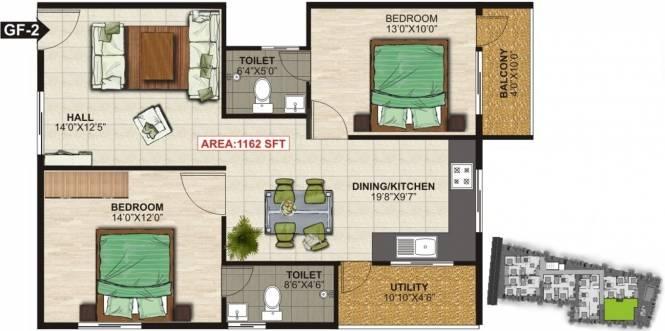 NSR Brindavan (2BHK+2T (1,162 sq ft) Apartment 1162 sq ft)