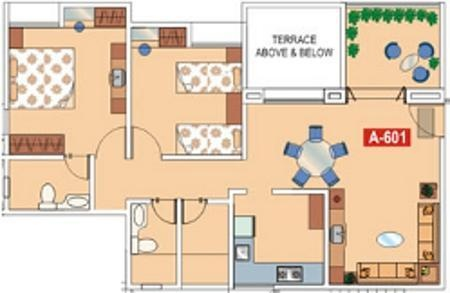 Phinix Periwinkle (2BHK+2T (1,034 sq ft) Apartment 1034 sq ft)