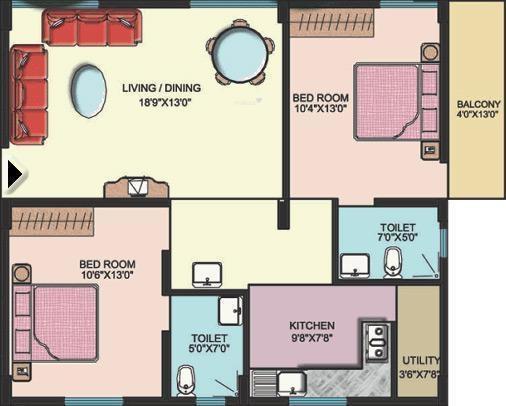 VM VM Serenity (2BHK+2T (1,050 sq ft) Apartment 1050 sq ft)