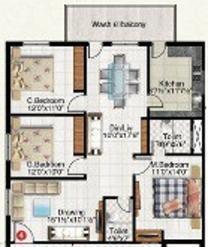 Vinoothna Pitties Majesty (3BHK+3T (1,477 sq ft) Apartment 1477 sq ft)