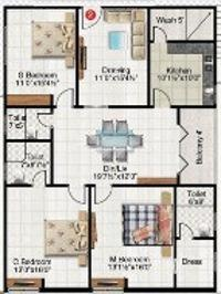 Vinoothna Pitties Majesty (3BHK+3T (1,902 sq ft) Apartment 1902 sq ft)