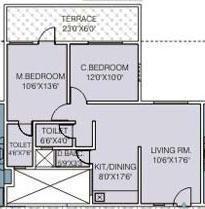 Sanjeevani Sadafulee (2BHK+2T (933 sq ft) Apartment 933 sq ft)