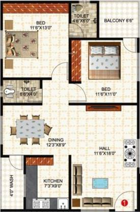 Prem Rama Residency (2BHK+2T (1,107 sq ft) Apartment 1107 sq ft)