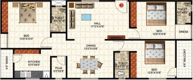 Prem Rama Residency (3BHK+3T (1,485 sq ft)   Pooja Room Apartment 1485 sq ft)