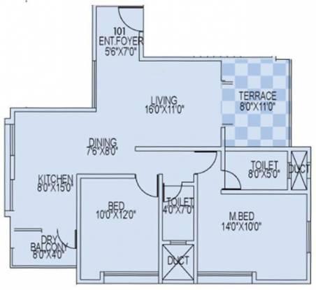 Concord Portia (2BHK+2T (1,091 sq ft) Apartment 1091 sq ft)
