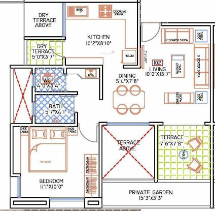 F5 Nandini Spring Fields (1BHK+1T (725 sq ft) Apartment 725 sq ft)