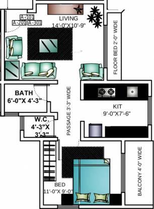 Ashapura Asha Palms (1BHK+1T (580 sq ft) Apartment 580 sq ft)