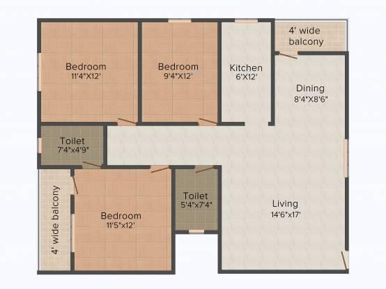 Star Star Green (3BHK+2T (1,386 sq ft) Apartment 1386 sq ft)