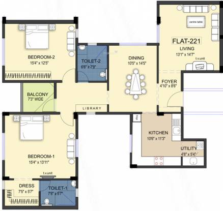 Ramaniyam Kattima (2BHK+2T (1,651 sq ft) Apartment 1651 sq ft)