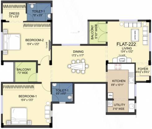 Ramaniyam Kattima (2BHK+2T (1,621 sq ft) Apartment 1621 sq ft)