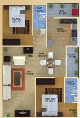 Neo Heights Aster (2BHK+2T (1,034 sq ft) Apartment 1034 sq ft)