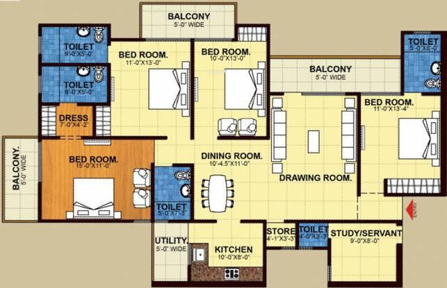 Trident Embassy (4BHK+4T (2,155 sq ft)   Study Room Apartment 2155 sq ft)