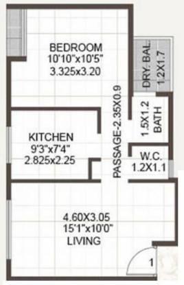 Radhey Residency 2 (1BHK+1T (615 sq ft) Apartment 615 sq ft)