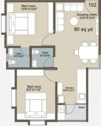Rajyash Sahaj Sapphire (2BHK+2T (810 sq ft) Apartment 810 sq ft)