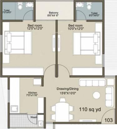 Rajyash Sahaj Sapphire (2BHK+2T (990 sq ft) Apartment 990 sq ft)