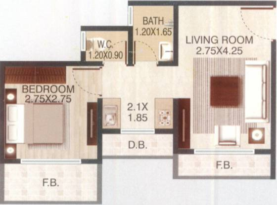 DGS Sheetal Deep (1BHK+1T (572 sq ft) Apartment 572 sq ft)
