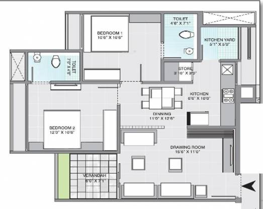 Gala Aria (2BHK+2T (1,113 sq ft) Apartment 1113 sq ft)