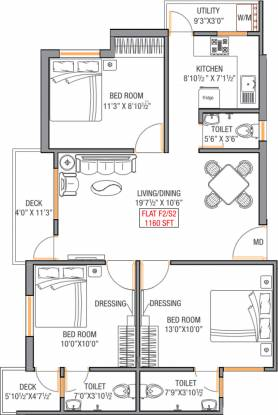 Oyester Delights (3BHK+3T (1,160 sq ft) Apartment 1160 sq ft)