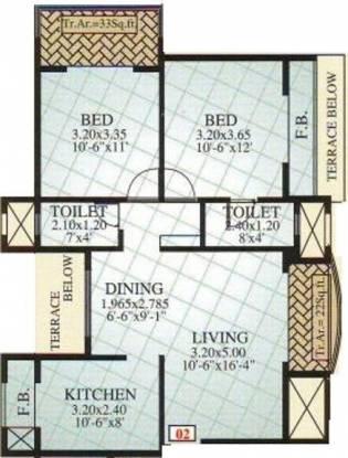 RS Grandeur (2BHK+2T (1,184 sq ft) Apartment 1184 sq ft)