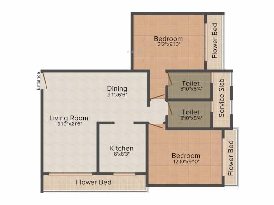 Bholenath Aura Apartment (2BHK+2T (692 sq ft) Apartment 692 sq ft)