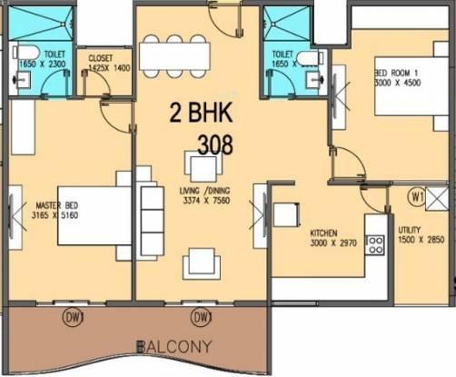 V5 Alpha Emerald (2BHK+2T (1,042 sq ft) Apartment 1042 sq ft)