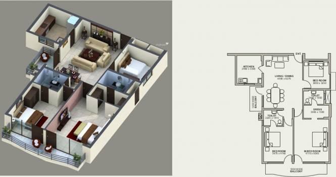 NBCC Green View (3BHK+3T (1,630 sq ft) Apartment 1630 sq ft)