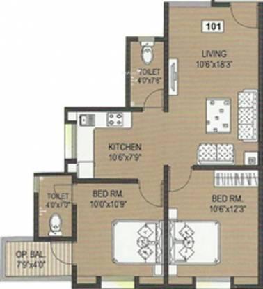 Shree Miracle (2BHK+2T (975 sq ft) Apartment 975 sq ft)