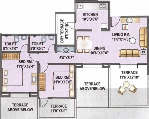 Kunal Venezia Homes (2BHK+2T (1,307 sq ft) Apartment 1307 sq ft)
