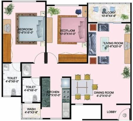 Mirchandani Shalimar Palms (2BHK+2T (1,200 sq ft) Apartment 1200 sq ft)