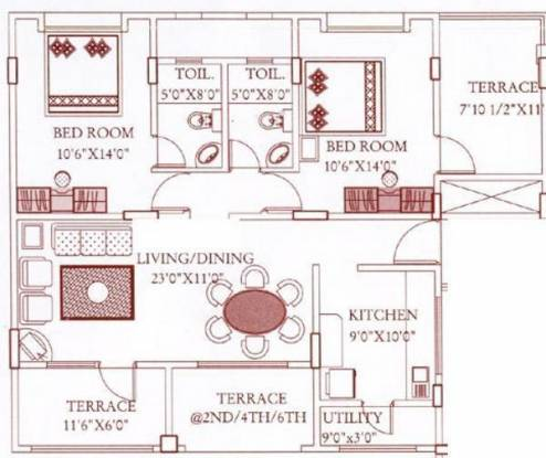 Mutha Daffodil Avenue (2BHK+2T (1,170 sq ft) Apartment 1170 sq ft)