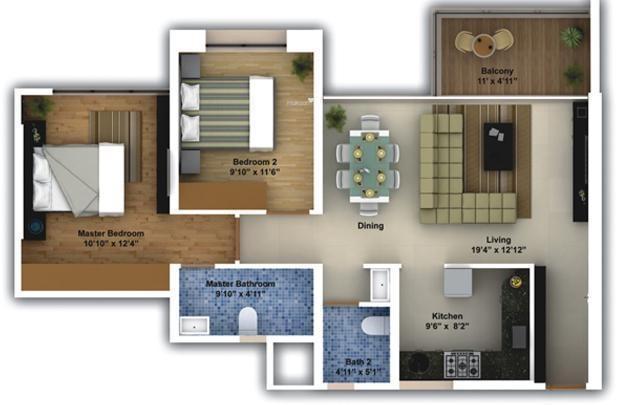 Amanora Aspire Towers (2BHK+2T (1,093 sq ft) Apartment 1093 sq ft)