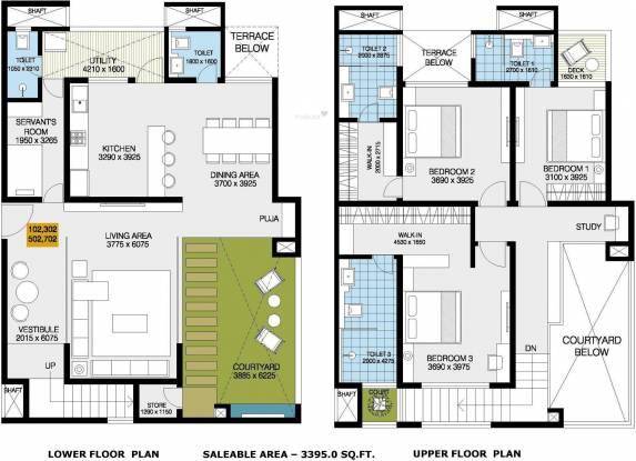 Goyal Courtyard 77 (3BHK+3T (3,395 sq ft) + Study Room Apartment 3395 sq ft)