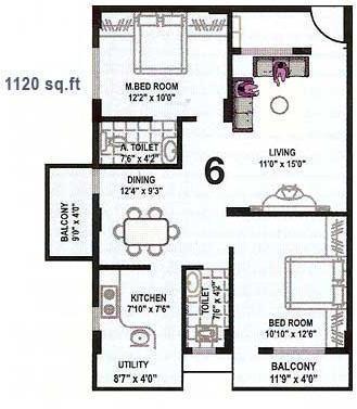 Nanda Nanda Glory (2BHK+2T (1,120 sq ft) Apartment 1120 sq ft)